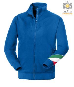 Langprofil Reissverschluss Sweatshirt dreifarbig, gerippter Ausschnitt, Taschenlampe dreifarbig am linken Arm, Ihre offenen Taschen mit Fadenheftung Ribattute, made in Italy, Farbe koenigsblau