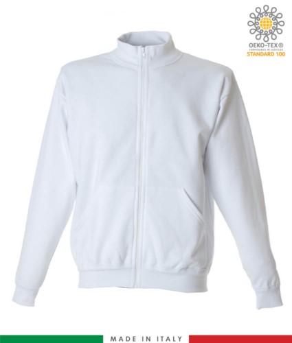 Langes Reissverschluss-Sweatshirt, gerippter Ausschnitt, zwei Beuteltaschen, Made in Italy, Farbe weiss