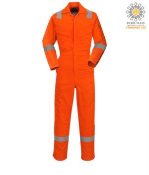Antistatik-Overall, leicht feuerhemmend, verstellbare Manschette mit Klettverschluss, Aermel- und Knietasche, Reflexband an der Unterseite des Beines, Aermeln und Schultern, zertifiziert 89/686/EWG, EN 11611, EN 1149-5, EN ISO 11612:2009, Farbe orange