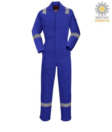 Antistatik-Overall, leicht feuerhemmend, verstellbare Manschette mit Klettverschluss, Aermel- und Knietasche, Reflexband an der Unterseite des Beines, Aermeln und Schultern, zertifiziert 89/686/EWG, EN 11611, EN 1149-5, EN ISO 11612:2009, Farbe marineblau