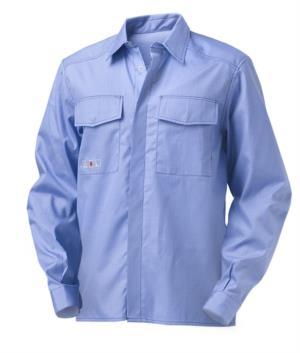 Langarm Hemd multipro, zwei Taschen, Kontrastnaht, blau, zertifiziert nach EN 1149-5, EN 13034, EN 11612:2009