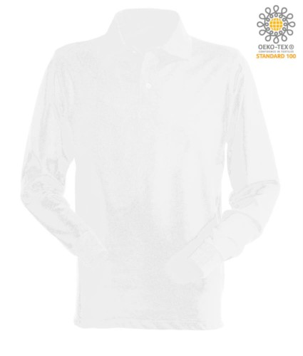 Langarm Poloshirt 100% gekaemmte Baumwolle, Farbe weiss