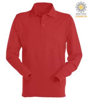 Langarm Poloshirt 100% gekaemmte Baumwolle, Farbe rot