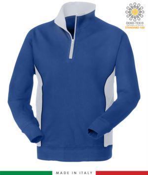 Werbe Sweatshirt fuer die Arbeit mit Rollkragenpullover Farbe Koenigsblau und weiss