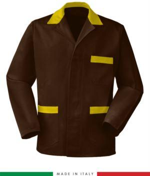 braun / gelb Arbeitsjacke, made in Italy, 100% Baumwolle Massaua mit zwei Taschen