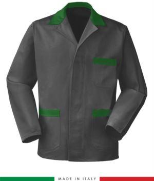 grau / gruen Arbeitsjacke, made in Italy, 100% Baumwolle Massaua mit zwei Taschen