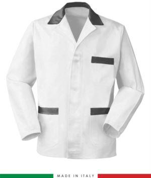 weisse Arbeitsjacke mit grau Einsaetzen, Polyestergewebe und Baumwolle