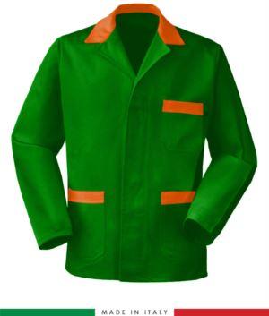 gruen Arbeitsjacke mit orange Einsätzen, Polyester- und Baumwollgewebe