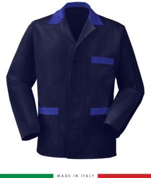 blau Arbeitsjacke mit koengsblau farbenen Einsätzen, Polyestergewebe und Baumwolle