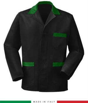 schwarze Arbeitsjacke mit gruen farbenen Einsätzen, Polyestergewebe und Baumwolle
