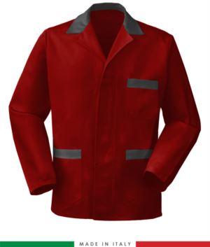 Rot / grau Arbeitsjacke, made in Italy, 100% Baumwolle Massaua mit zwei Taschen