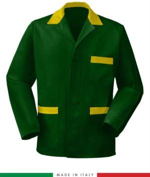 Gruen Arbeitsjacke mit gelb Einsaetzen made in Italy, 100% Baumwolle Massaua und zwei Taschen