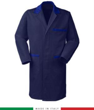 Marineblau /Koenigsblau Herrenhemd mit verdeckten Knoepfen 100% Baumwolle Massaua Sanforizzato