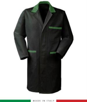 Herren Langarmhemd 100% Baumwolle fuer den professionellen Einsatz schwarz/grün