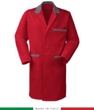 rot/graue Baumwolle Herren Arbeitskittel