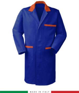 Herren Arbeitskleid Koenigsblau/Orange 100% Baumwolle