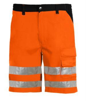 Bermudashorts mit hoher Sichtbarkeit, mehrteilig zweifarbig mit doppeltem Band an den Beinen, zertifiziert nach EN 20471, Farbe orange