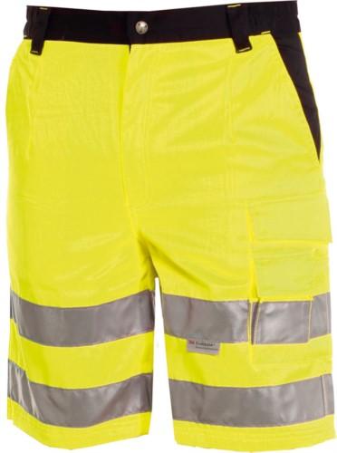 Bermudashorts mit hoher Sichtbarkeit, mehrteilig zweifarbig mit doppeltem Band an den Beinen, zertifiziert nach EN 20471, Farbe gelb