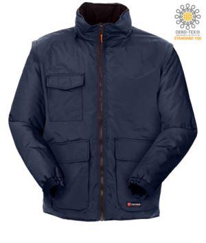 Ripstop Jacke mit mehreren Taschen und abnehmbaren Aermeln, mit Kapuze. Farbe Blau