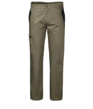 Zweifarbige Mehrtaschen-Arbeitshose mit Doppeltasche am rechten Bein, Farbe gruen/schwarz