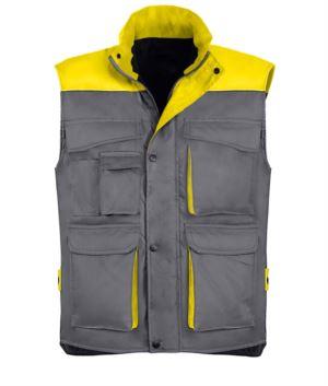 Arbeitsweste aus Polyester und Baumwolle mit mehreren Taschen, Polyesterpolsterung. grau / gelb Farbe