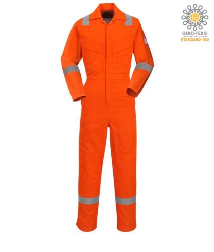 Antistatischer und feuerfester Overall, verstellbare Manschette, Aermeltasche, seitlicher Zugang, Masstasche, orange Farbe. CE zertifiziert, EN 11611, EN 11612:2009, ASTM F1959-F1959M-12, EN 1149-5, CEI EN 61482-1-2:2008