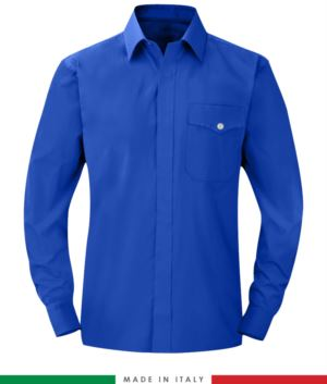 Feuerfestes Hemd, antistatisch, langarmiges Antazidum, Brusttasche, Made in Italy, zertifiziert nach EN 1149-5, EN 13034, EN 14116:2008, Farbe koenigsblau