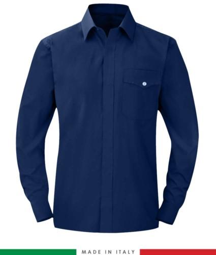 Feuerfestes Hemd, antistatisch, langarmiges Antazidum, Brusttasche, Made in Italy, zertifiziert nach EN 1149-5, EN 13034, EN 14116:2008, Farbe marineblau