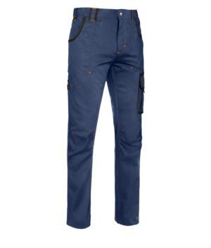 Mehrtaschen Hose mit kontrastfarbigen Details, Farbe blau