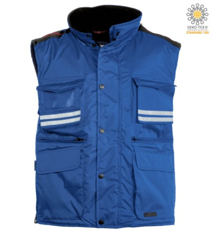 Koenigsblau Arbeitsweste mit mehreren Taschen und reflektierenden Streifen, 100% Polyestergewebe