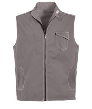 grau Sommerweste mit 5 Taschen und Badgehalterung