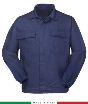 Multipro-Jacke, verdeckter Knopfverschluss, zwei Brusttaschen, elastische Aermelbuendchen, Farbeinsaetze an Schultern und Innenkragen, Made in Italy, zertifiziert nach EN 11611, EN 1149-5, EM 13034, CEI EN 61482-1-2:2008, EN 11612:2009, Farbe marineblau