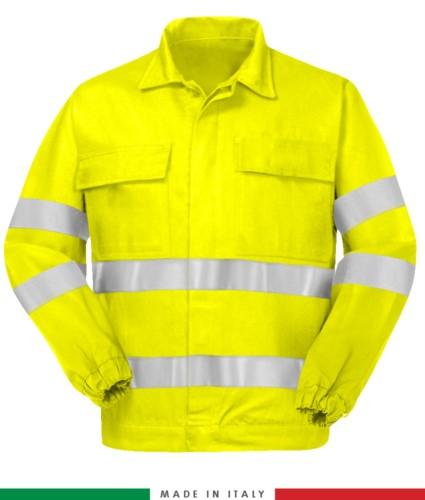 Multipro Jacke, elastische Manschetten, doppelt reflektierendes Band an Brust und Ärmeln, zwei Brusttaschen, zertifiziert nach EN 20471, EN 1149-5, EN 13034, UNI EN 531:97, Farbe gelb