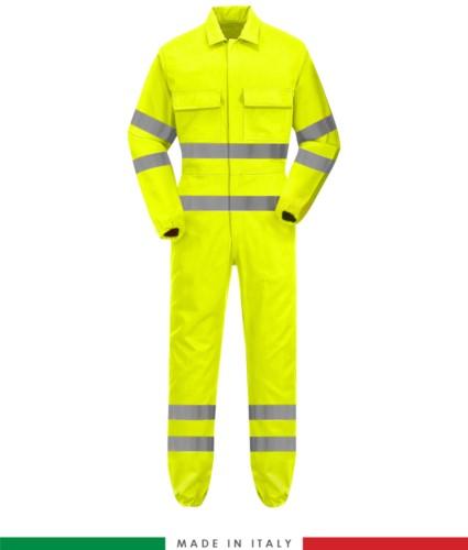 Multipro Overall, elastische Manschetten, elastische Taille, zwei Brusttaschen, doppelte Bänder an Taille, Unterschenkel und Ärmeln, Made in Italy, zertifiziert nach EN 20471, EN 11611, EN 1149-5, EN 13034, CEI EN 61482-1-2:2008, EN 11612:2009, Farbe gelb