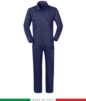 Multipro Overall, mit mehreren Taschen, Made in Italy, elastische Manschetten, elastische Taille, zertifiziert nach EN 11611, EN 1149-5, EN 13034, CEI EN 61482-1-2:2008, EN 11612:2009, Farbe blau
