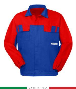 Multipro zweifarbige Jacke, verdeckter Knopfverschluss, zwei Brusttaschen, elastische Aermelbuendchen, Farbeinsaetze an Schultern und Innenkragen, Made in Italy, Farbe koenigsblau/grau