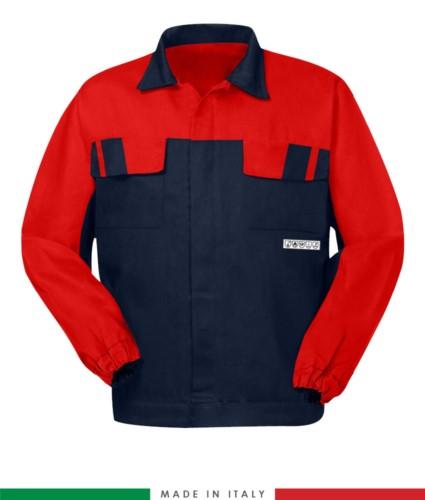 weifarbige Jacke, verdeckter Knopfverschluss, zwei Brusttaschen, elastische Aermelbuendchen, Farbeinsaetze an Schultern und Innenkragen, Made in Italy, Farbe marineblau/ rot