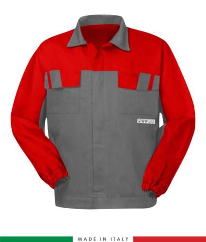 Multipro zweifarbige Jacke, verdeckter Knopfverschluss, zwei Brusttaschen, elastische Ärmelbündchen, Farbeinsätze an Schultern und Innenkragen, Made in Italy, zertifiziert nach EN 11611, EN 1149-5, EM 13034, CEI EN 61482-1-2:2008, EN 11612:2009, Farbe grau/rot