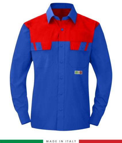 Zweifarbiges Multipro Hemd, langarm, zwei Brusttaschen, Made in Italy, zertifiziert nach EN 1149-5, EN 13034, EN 14116:2008, Farbe marineblau/ rot