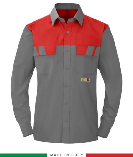 Zweifarbiges Multipro Hemd, langarm, zwei Brusttaschen, Made in Italy, zertifiziert nach EN 1149-5, EN 13034, EN 14116:2008, Farbe grau/rot