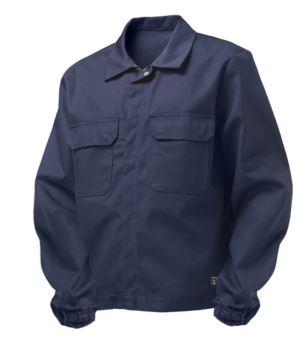 Multipro-Jacke, verdeckter Knopfverschluss, zwei Brusttaschen, elastische Aermelbuendchen, Farbeinsätze an Schultern und Innenkragen, Made in Italy, zertifiziert nach EN 11611, EN 1149-5, EM 13034, CEI EN 61482-1-2:2008, EN 11612:2009, Farbe marineblau