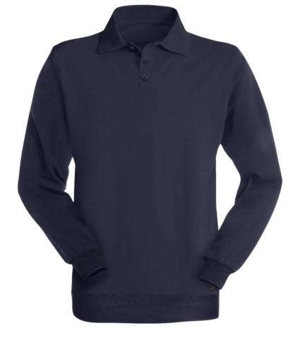 Langarm-Poloshirt, Multi norm, drei Knoepfe, Farbe blau; zertifiziert nach EN 1149-5, EN 1149-5, EN 11612:2009, EN 531:97