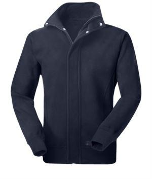 Langes Multipro Reissverschluss-Fleece mit Reißverschluss und abgedeckten Knöpfen, elastische Bündchen, Farbe blau, zertifiziert nach EN 1149-5, EN 11612:2009, EN ISO 340:2004