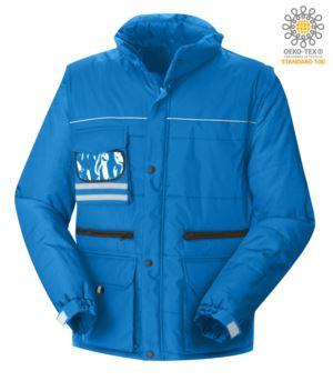 Mehrtaschenjacke mit abnehmbaren wasserdichten Aermeln, abnehmbare Kapuze mit reflektierenden Profilen an der Tasche und Badgehalter, Farbe koenigsblau