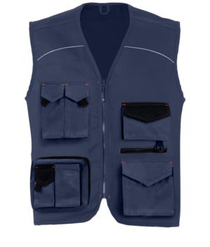 Sommer Multi Pocket-Weste mit blauen Einsaetzen 100% Baumwolle