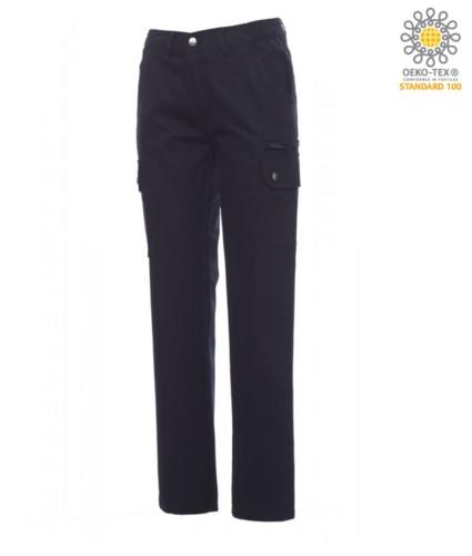 Damenhose mit Multi Pocket und Multi Season Klassiker Schnitt. Farbe blau