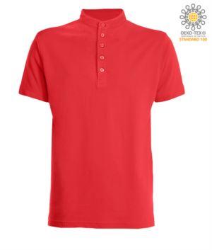 Poloshirt mit koreanischem Kragen mit 5-Knopf Verschluss, Farbe Rot