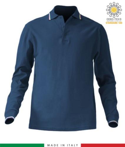 Langaermeliges dreifarbiges Pique-Poloshirt, Seitenschlitze, drei passende Knoepfe, made in Italy, Farbe marineblau