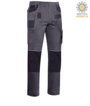 Arbeitshose mit mehreren Taschen und Stretchmaterial, Farbe dunkel grau
