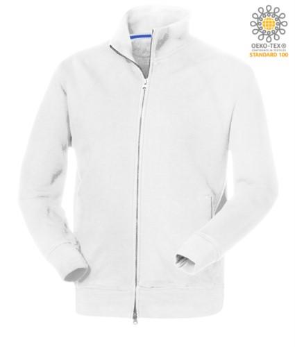 Herren Langarm Sweatshirt mit langem Reissverschluss Weiss Farbe